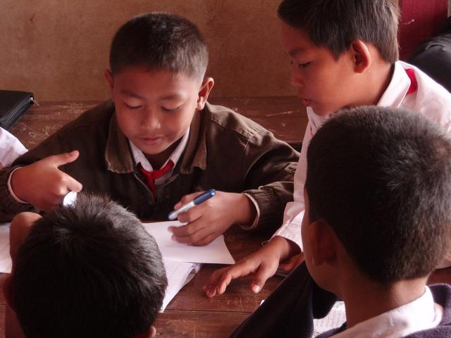 Students primary school village, education.