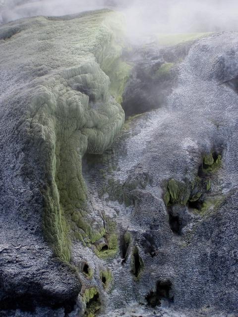 Sulfur volcano steam.