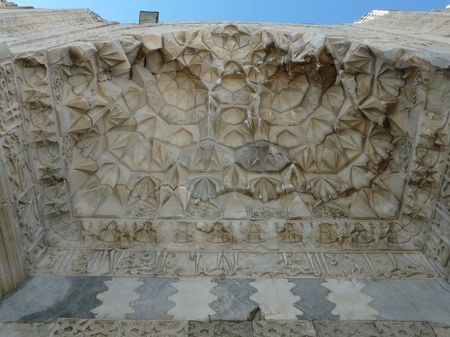Sultanhan caravansary decorated portal caravanserai, architecture buildings.