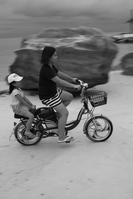 Summer beach bike, travel vacation.