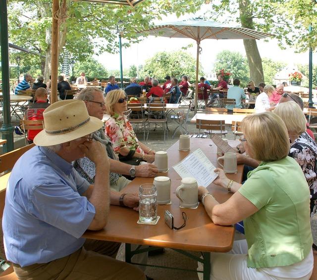 Summer beer garden celebrate, food drink.
