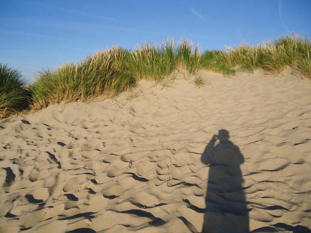 Summer dunes shadow, travel vacation.
