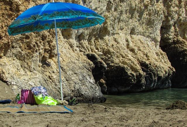 Summer sunshade umbrella, travel vacation.
