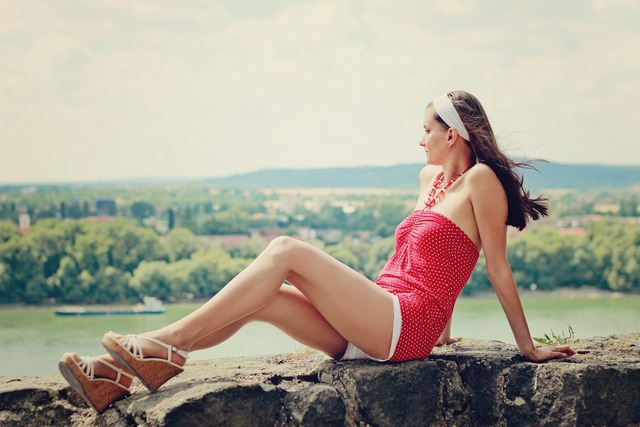Summer young woman long legs, beauty fashion.