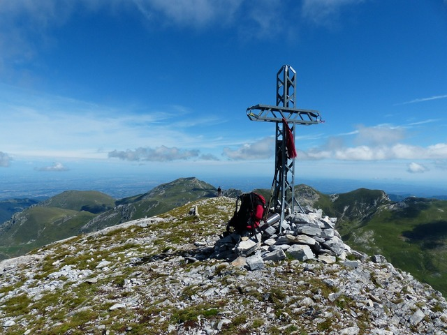Summit cross cima della saline mountain, nature landscapes.