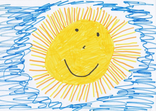 Sun children drawing image, people.