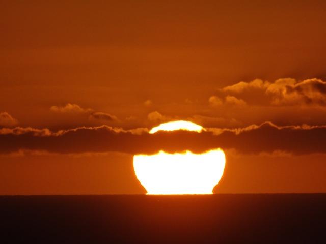 Sun fireball sunset sea.
