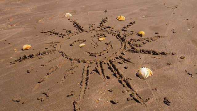 Sun graphics sand, travel vacation.