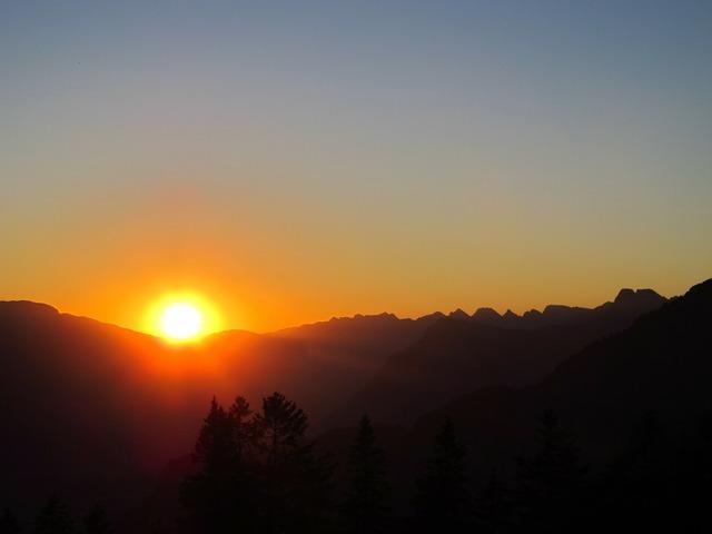 Sun sunset mountains, travel vacation.