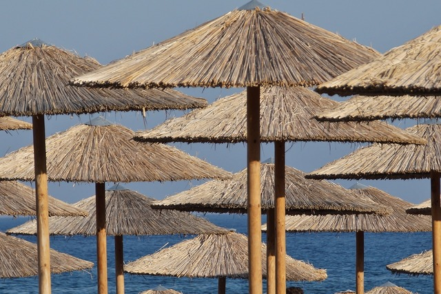 Sun umbrellas reed bamboo, travel vacation.