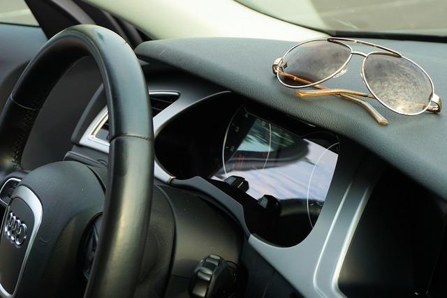 Sunglasses audi steering wheel.