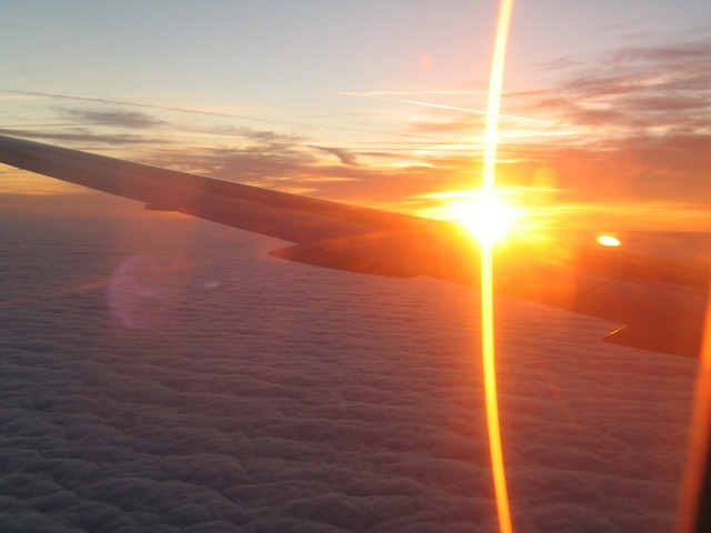 Sunrise airplane aircraft window, nature landscapes.