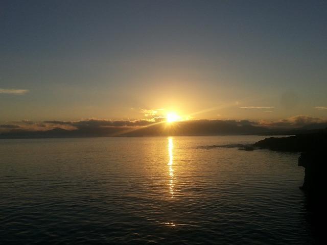 Sunrise sea mallorca, travel vacation.
