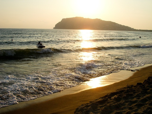 Sunset beach light, travel vacation.