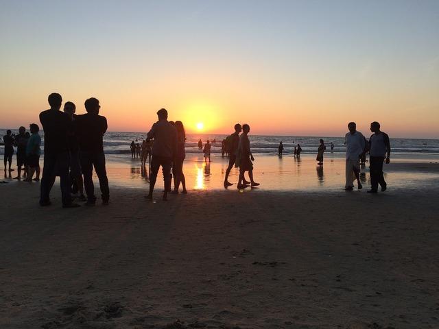 Sunset beach sea, travel vacation.