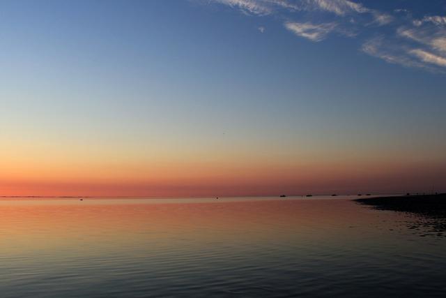 Sunset evening sky coast, travel vacation.