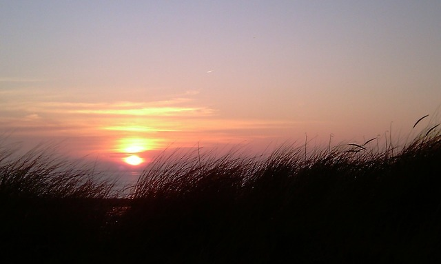Sunset föhr afterglow, travel vacation.