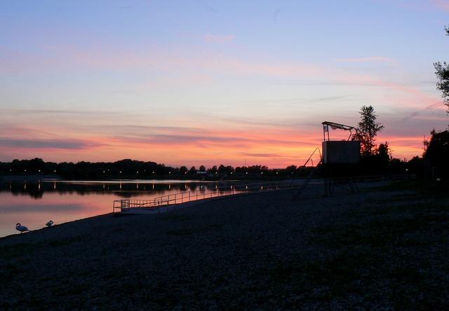 Sunset lake sunrise, travel vacation.
