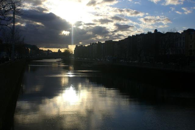 Sunset mirror effect sun's rays, travel vacation.