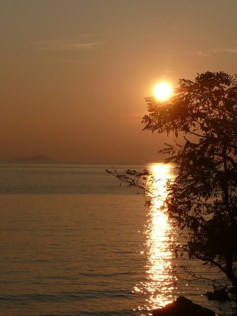 Sunset sea golden, travel vacation.