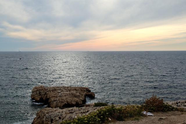 Sunset sea marseille, travel vacation.