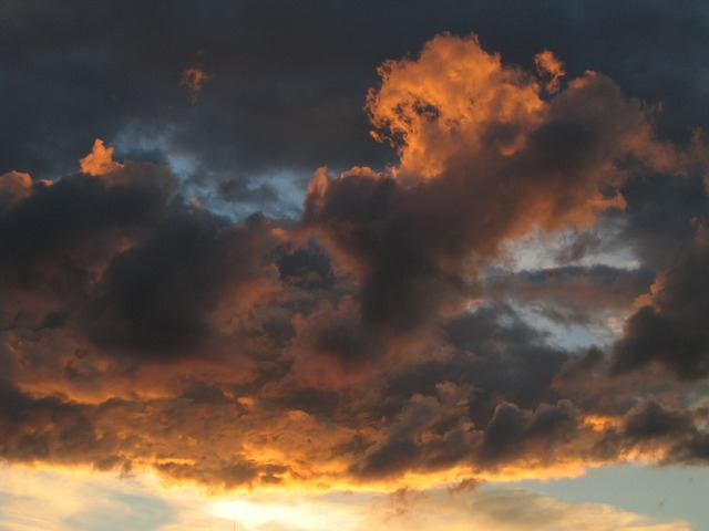 Sunset sky clouds, travel vacation.