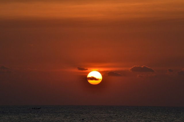 Sunset sun glowing, travel vacation.
