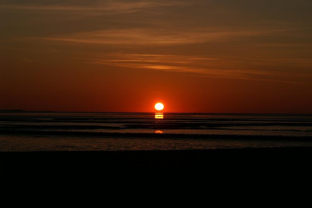 Sunset wadden sea north sea, travel vacation.