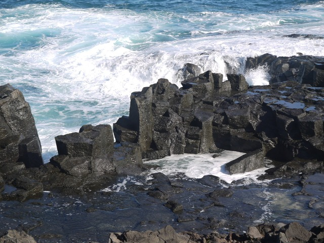 Surf wave lava rock, nature landscapes.