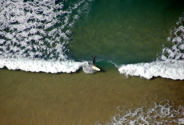 Surfer surf beach, travel vacation.