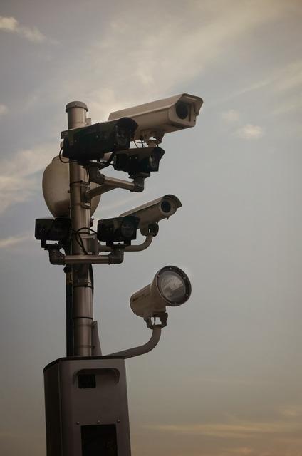 Surveillance state cameras monitoring.