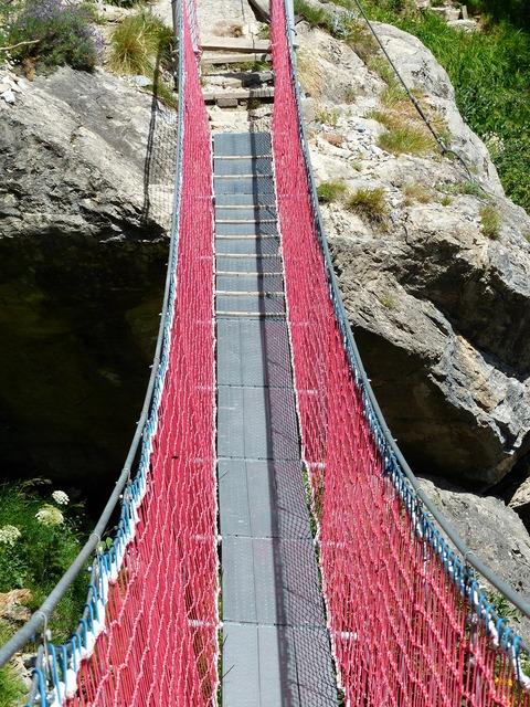 Suspension bridge bridge crossing.