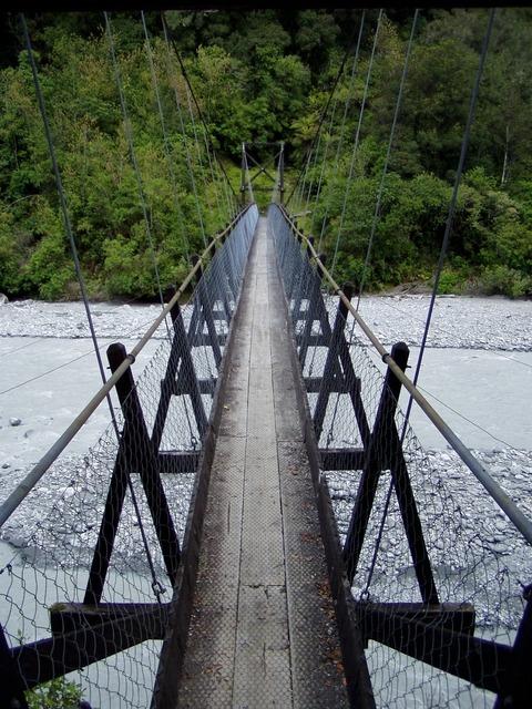 Suspension bridge bridge river.
