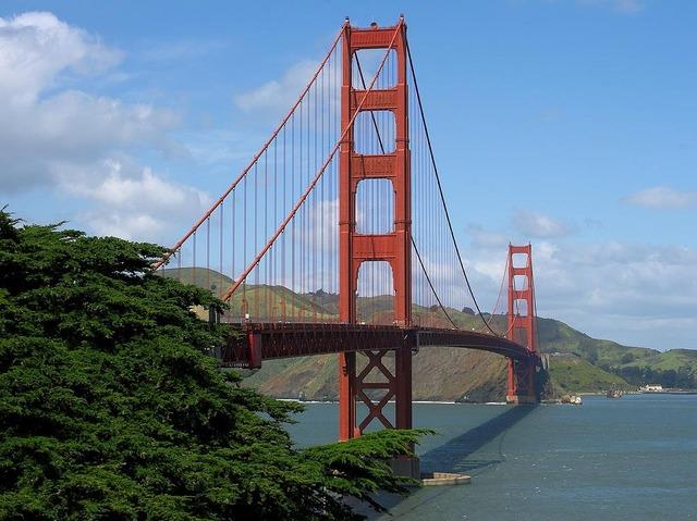 Suspension bridge golden gate bridge steel cables, architecture buildings.