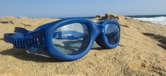 Swim goggles blue glasses.