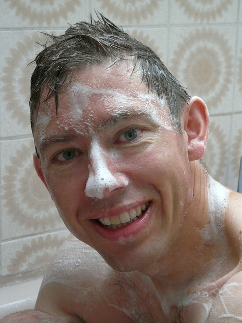 Swim wash shower, people.