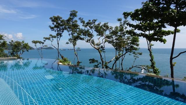 Swimming pool ocean modern design, travel vacation.
