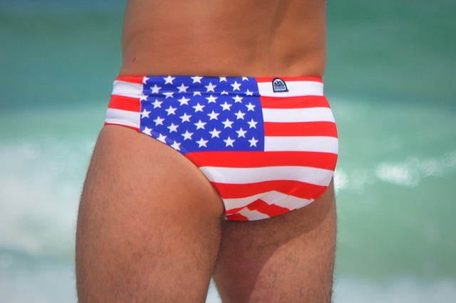 Swimming trunks usa stars and stripes.
