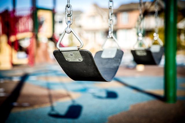 Swing playground children playing, people.