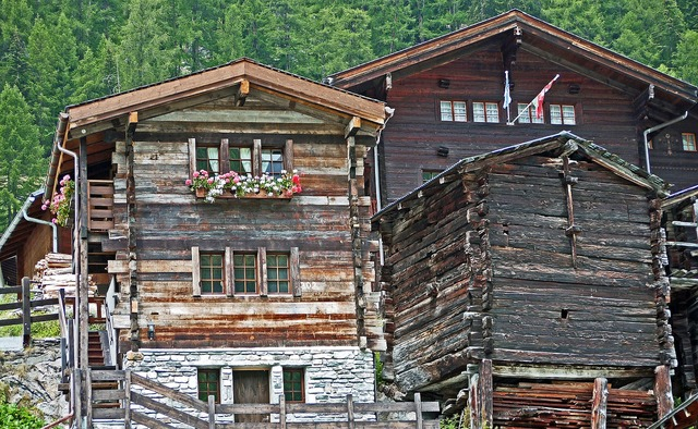 Switzerland valais wooden houses.