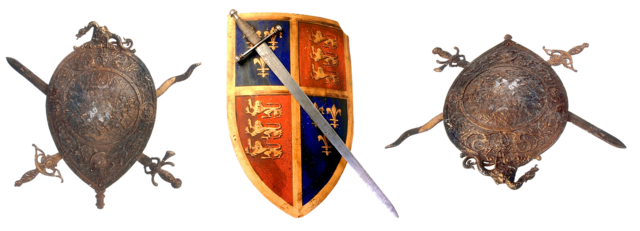 Sword shield coat of arms, architecture buildings.