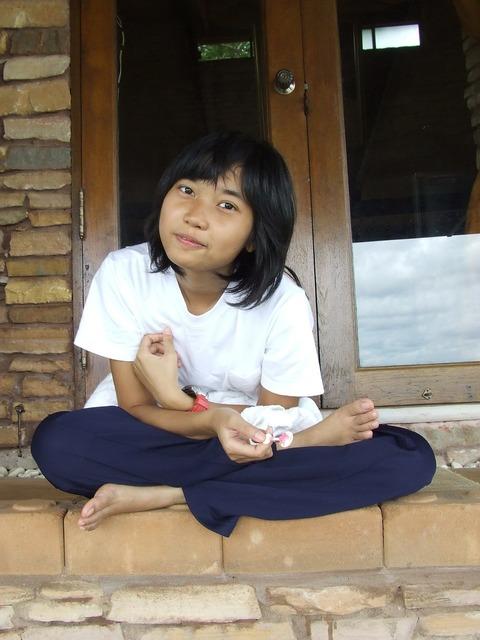 Tailor seat teenager girl, people.