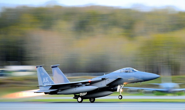 Take-off f-15 eagle jet.