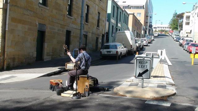 Tasmania busker market, transportation traffic.