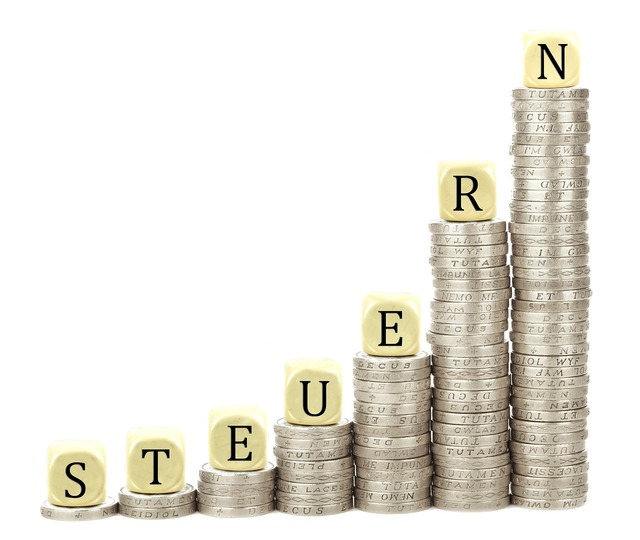Taxes coins stack, business finance.