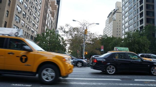 Taxi streets new york, transportation traffic.