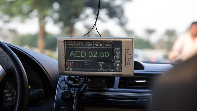 Taxi taximeter display.
