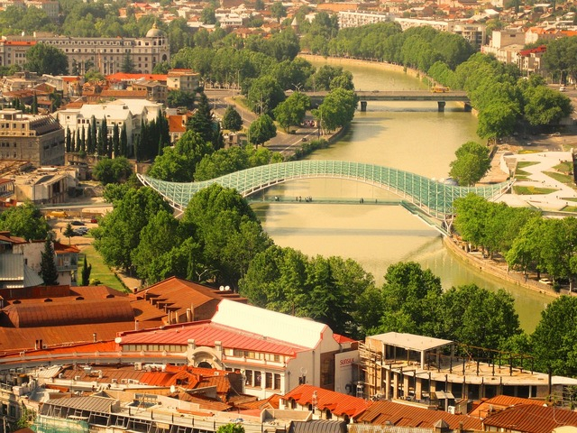Tbilisi bridge river, architecture buildings.