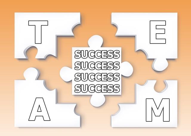 Team puzzle success, business finance.