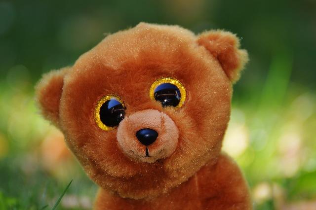 Teddy bear glitter eyes stuffed animal.